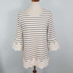 Charter Club 3/4-Sleeves Lace-Trim Tunic Top